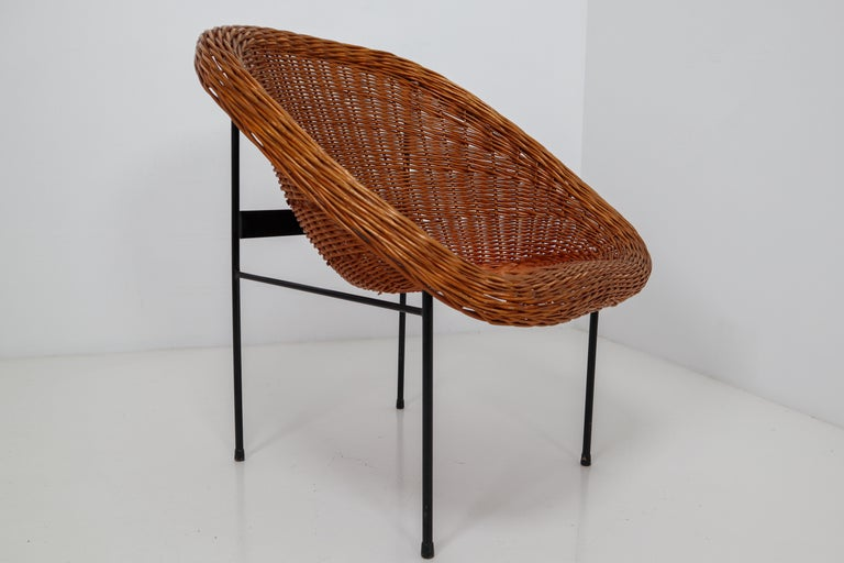Pair of Two Wicker Midcentury Easy Chairs, France, 1960s For Sale 4