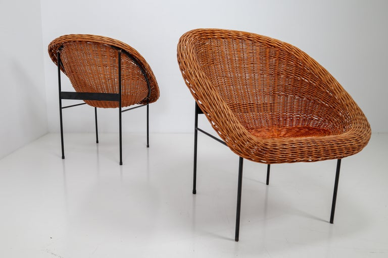 Mid-Century Modern Pair of Two Wicker Midcentury Easy Chairs, France, 1960s For Sale