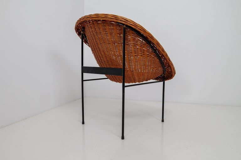 French Pair of Two Wicker Midcentury Easy Chairs, France, 1960s For Sale