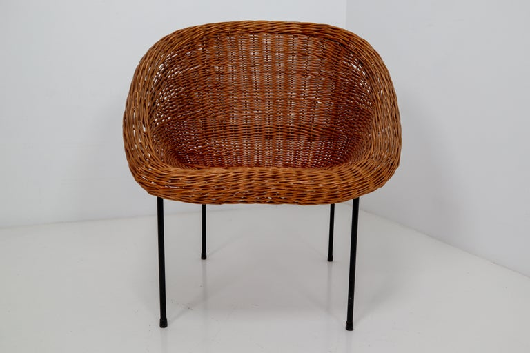 20th Century Pair of Two Wicker Midcentury Easy Chairs, France, 1960s For Sale