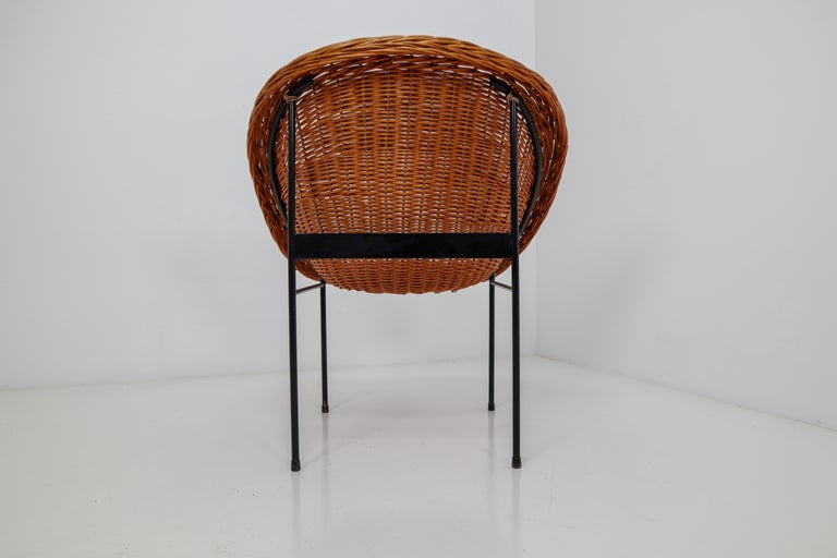 Pair of Two Wicker Midcentury Easy Chairs, France, 1960s For Sale 1