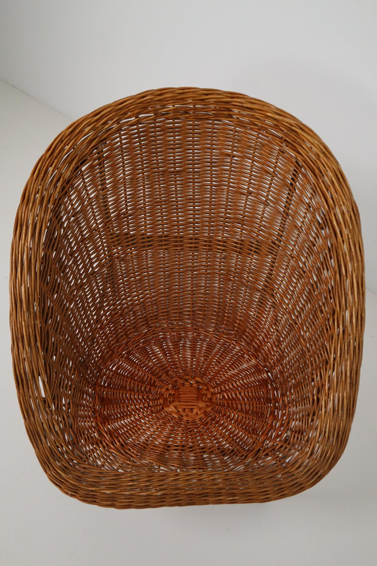Pair of Two Wicker Midcentury Easy Chairs, France, 1960s For Sale 2