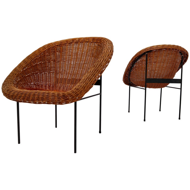 Pair of Two Wicker Midcentury Easy Chairs, France, 1960s For Sale