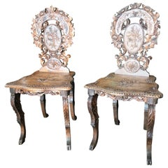 Pair Tyrol Chairs Alpine Side Hallway Entrance Antique Folk Art Chairs Sgabello