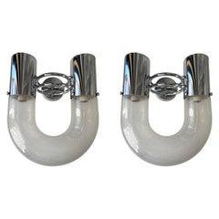 Pair of U Sconces Metal Murano Glass by Aldo Nason for Mazzega, Italy, 1970s