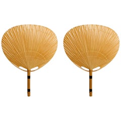 Pair of 'Uchiwa' Sconces Wall Lamps Lights, Ingo Maurer, Bamboo Paper, 1970s