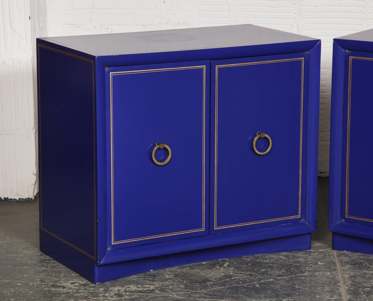 Pair of Ultramarine Blue and Gilt Side Cabinets For Sale 3