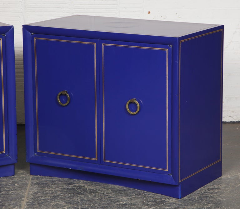 Pair of Ultramarine Blue and Gilt Side Cabinets For Sale 4
