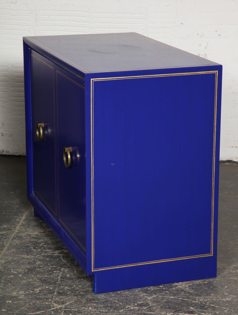 Pair of Ultramarine Blue and Gilt Side Cabinets For Sale 5