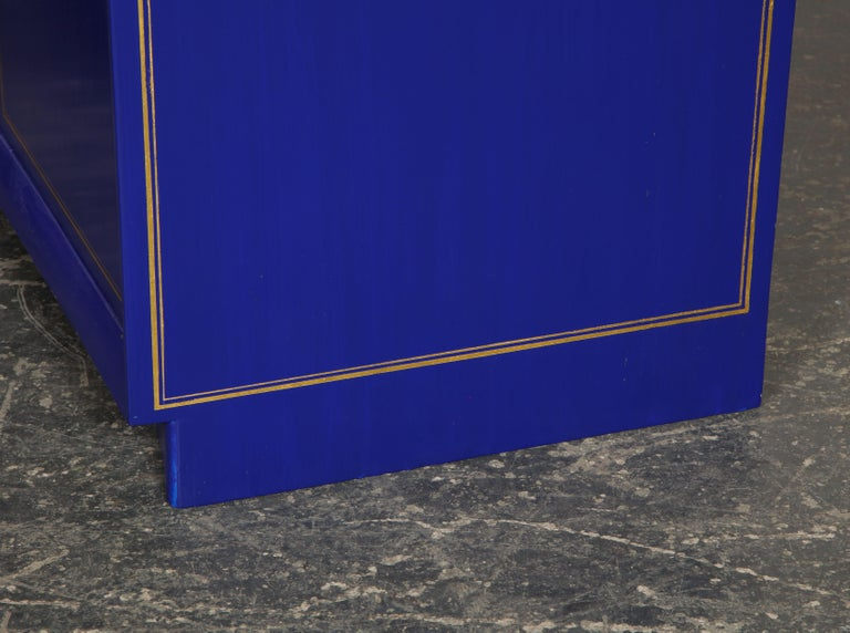 Pair of Ultramarine Blue and Gilt Side Cabinets For Sale 6