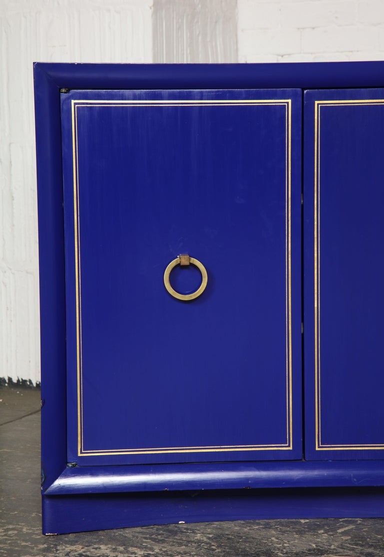 Pair of Ultramarine Blue and Gilt Side Cabinets For Sale 7
