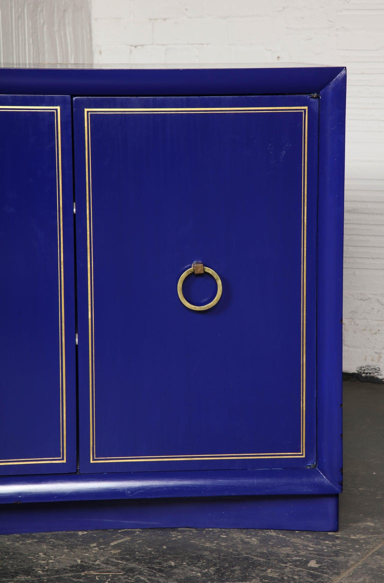 Pair of Ultramarine Blue and Gilt Side Cabinets For Sale 8