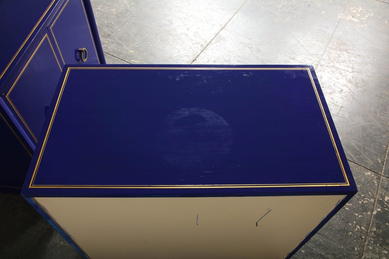 Pair of Ultramarine Blue and Gilt Side Cabinets For Sale 9
