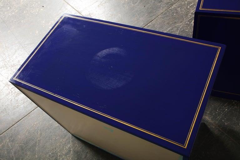 Pair of Ultramarine Blue and Gilt Side Cabinets For Sale 10