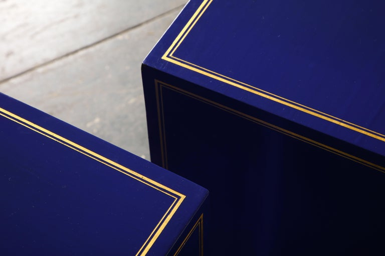 Pair of Ultramarine Blue and Gilt Side Cabinets For Sale 11