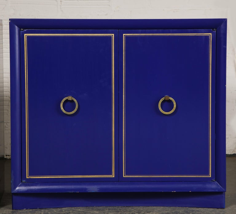 Hollywood Regency Pair of Ultramarine Blue and Gilt Side Cabinets For Sale