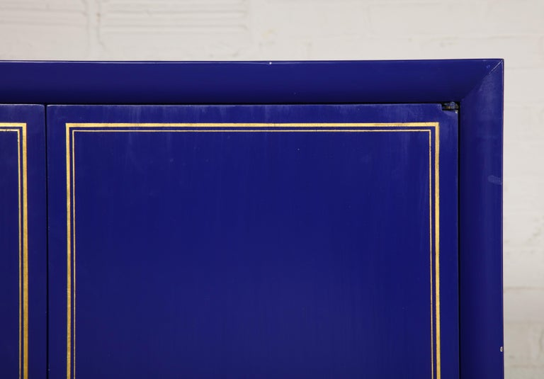 American Pair of Ultramarine Blue and Gilt Side Cabinets For Sale