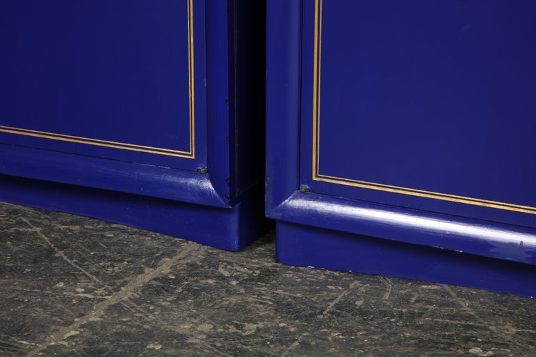 20th Century Pair of Ultramarine Blue and Gilt Side Cabinets For Sale