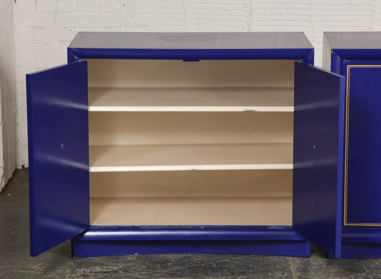 Wood Pair of Ultramarine Blue and Gilt Side Cabinets For Sale