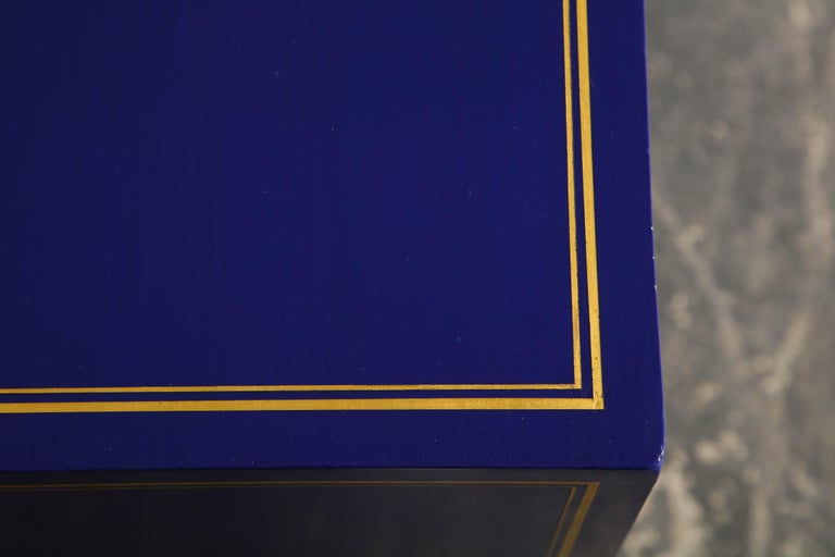 Pair of Ultramarine Blue and Gilt Side Cabinets For Sale 1