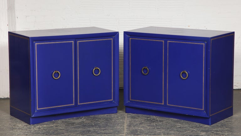 Pair of Ultramarine Blue and Gilt Side Cabinets For Sale 2