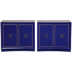 Pair of Ultramarine Blue and Gilt Side Cabinets