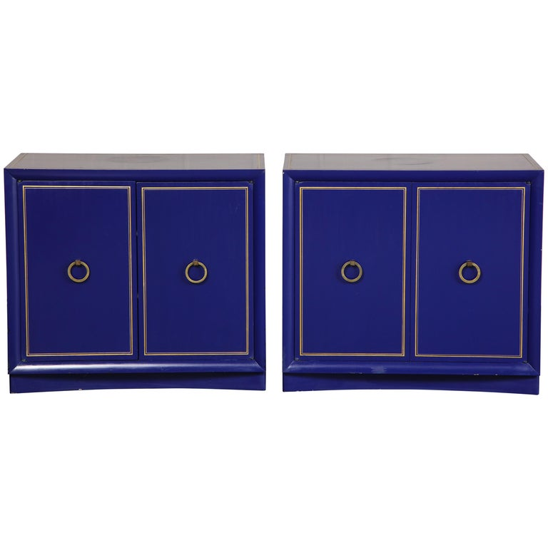 Pair of Ultramarine Blue and Gilt Side Cabinets For Sale