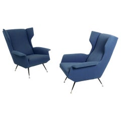 Pair of Ultramarine Blue Fabric Armchairs with Varnished Metal Legs, Italy 1950s