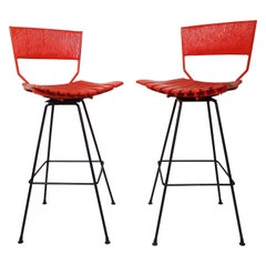 Pair of Umanoff Style Red Stools