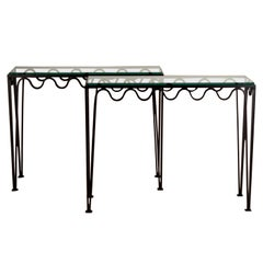 Pair of Undulating 'Méandre' Wrought Iron and Glass Consoles by Design Frères