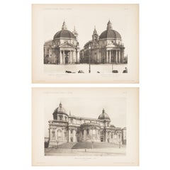 Pair of Unframed Architectural Prints, Italy Early 1900s