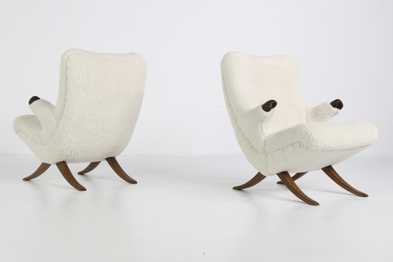 Pair of Unique 1950s Organic Lounge Chairs Teddy Fur & Leather Midcentury Modern For Sale 1
