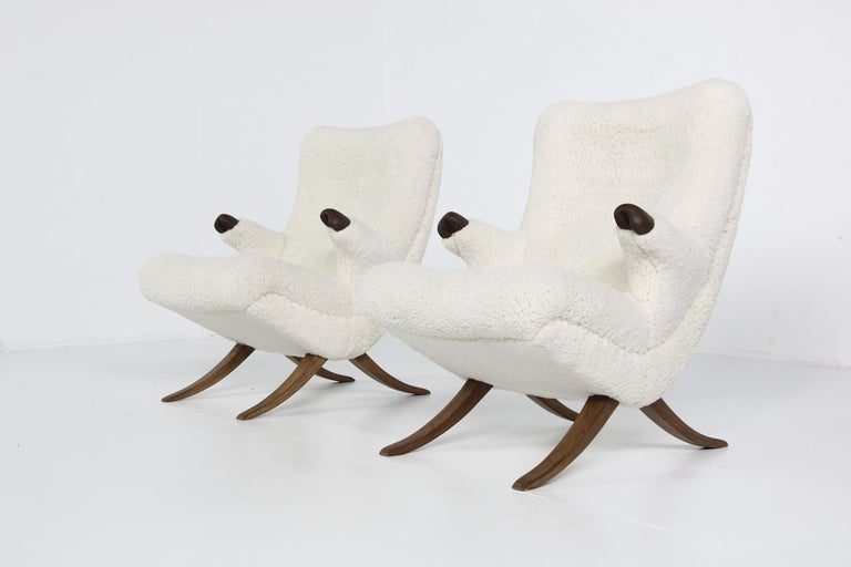 Pair of Unique 1950s Organic Lounge Chairs Teddy Fur & Leather Midcentury Modern For Sale 3
