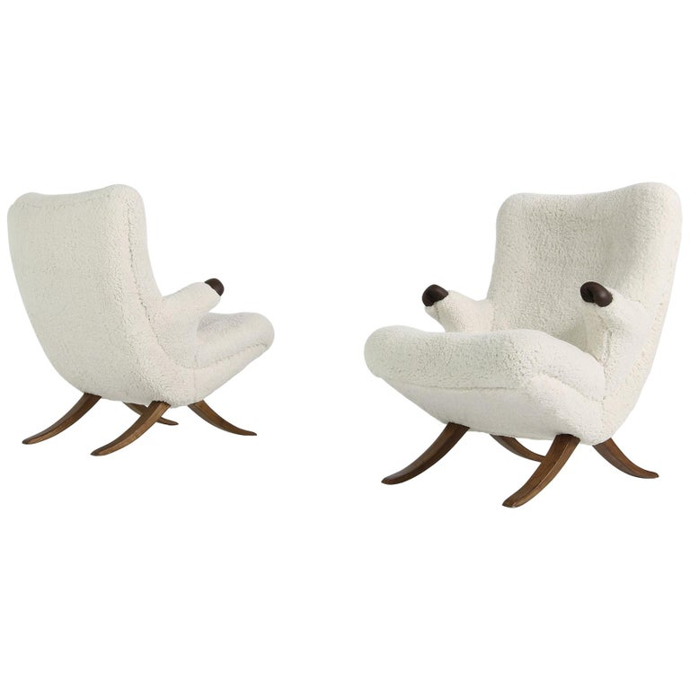 Pair of Unique 1950s Organic Lounge Chairs Teddy Fur & Leather Midcentury Modern For Sale