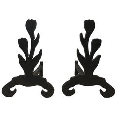 Unique Andirons Representing a Bouquet of Tulips in Cast Iron and Wrought, Pair