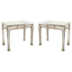 Pair of Unique Antique French Art Deco Rectangular Form Mirrored Console Tables