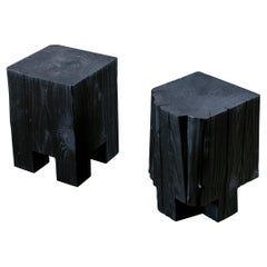 Pair of Unique Blackened Redwood Modular Stools/Bench by Base 10