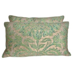 Pair of Unique Blue & Green Custom Fortuny Pillows