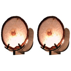 Unique Brass and Agate Stone Sconces