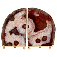 Pair of Unique Brown Agate Bookends