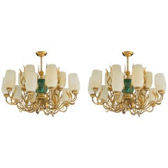 Pair of Unique Chandeliers Designed by Paavo Tynell Made by Oy Taito Ab Finland