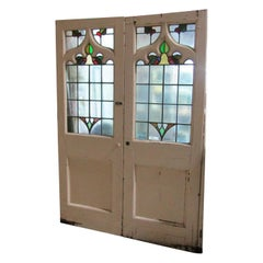 Pair of Unique English Stained Glass Gothic Front Entrance Doors 1850s-1860s
