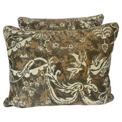 Pair of Unique Fortuny Pillows w/ Birds & Garlands