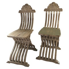 Pair of Unique Italian Savonarola Carved Antique Side Chairs