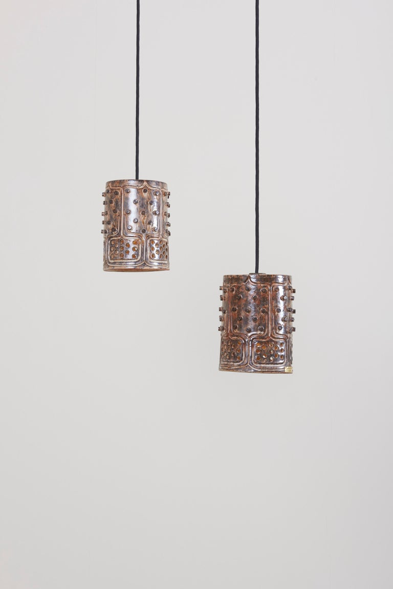 Mid-Century Modern 1 of 2 Pairs of Handmade Jette Helleroe Danish Modern Pendant Lamps, 1960s For Sale