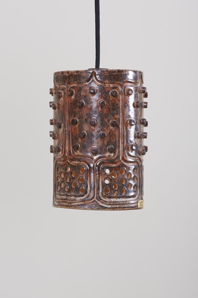 1 of 2 Pairs of Handmade Jette Helleroe Danish Modern Pendant Lamps, 1960s In Excellent Condition For Sale In Berlin, DE