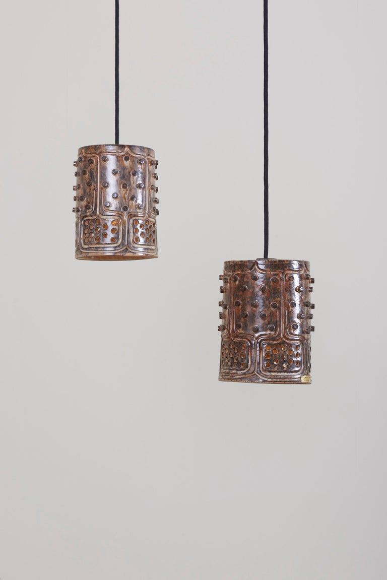 Ceramic 1 of 2 Pairs of Handmade Jette Helleroe Danish Modern Pendant Lamps, 1960s For Sale