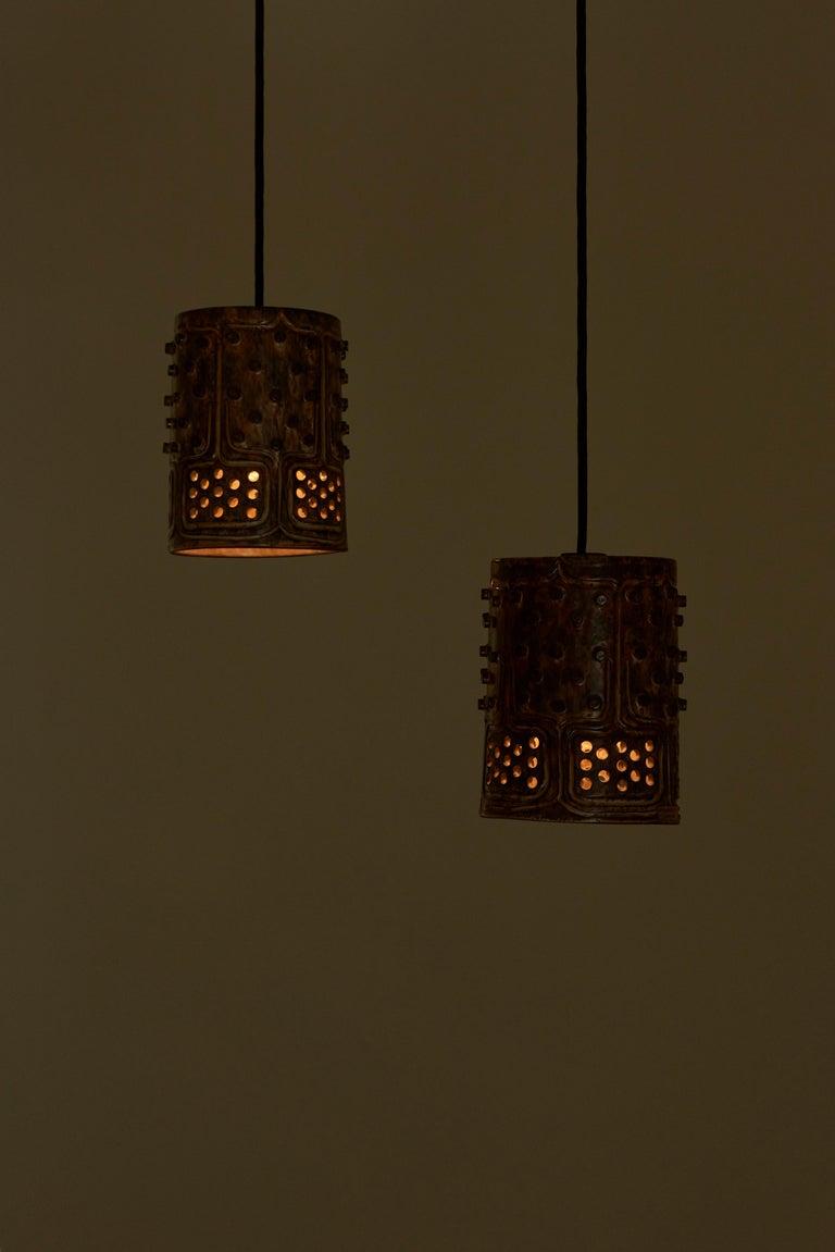 1 of 2 Pairs of Handmade Jette Helleroe Danish Modern Pendant Lamps, 1960s For Sale 1