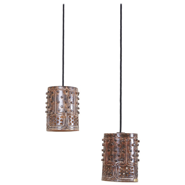 1 of 2 Pairs of Handmade Jette Helleroe Danish Modern Pendant Lamps, 1960s For Sale
