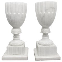 Pair of Unique Italian Carrara Marble Urn Lamps